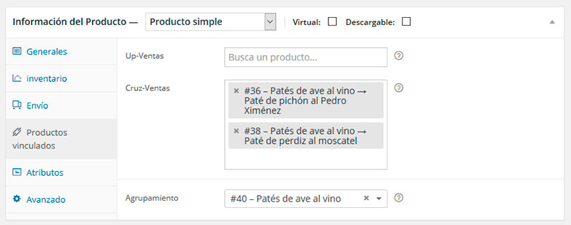 Productos vinculados woocommerce